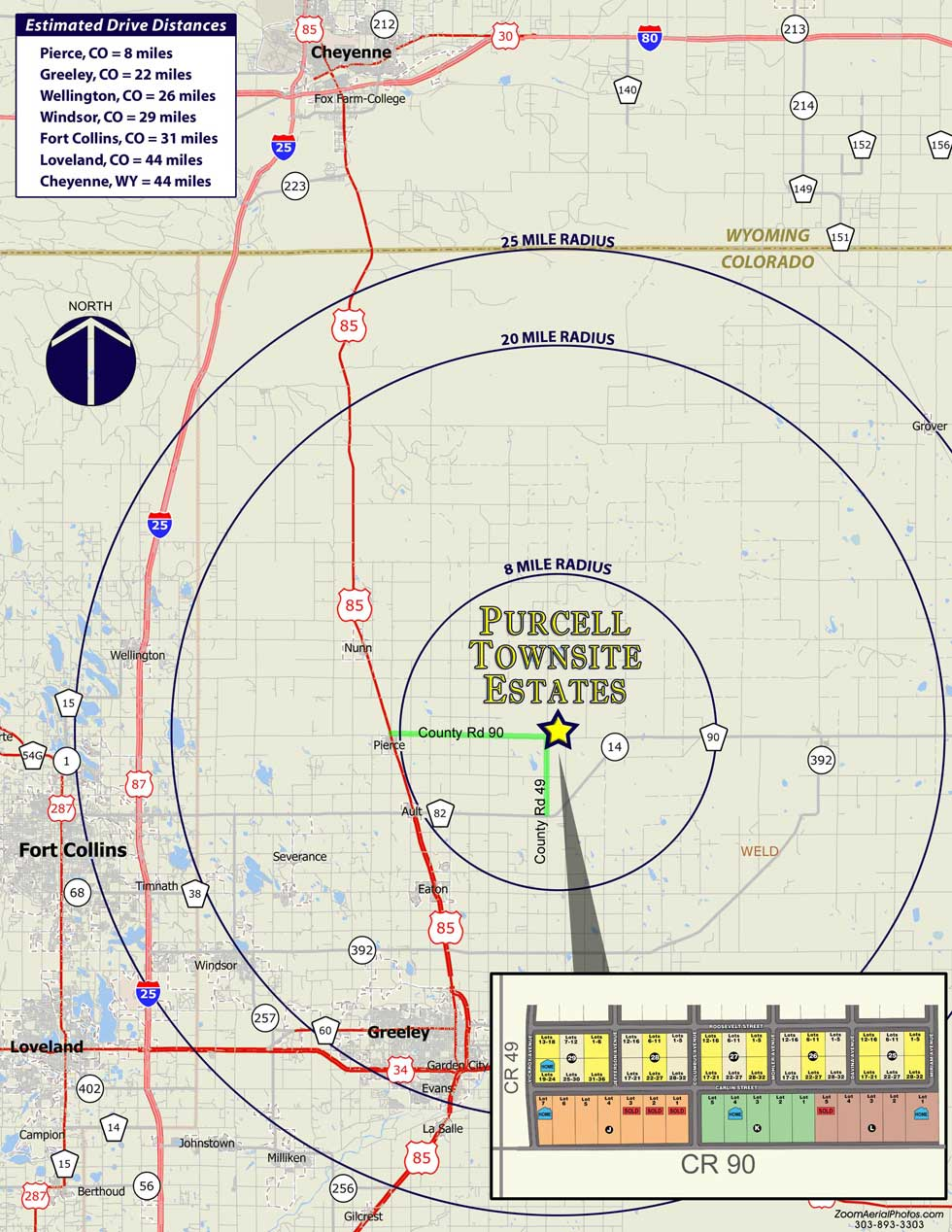 Regional map of Purcell Townsite Estates